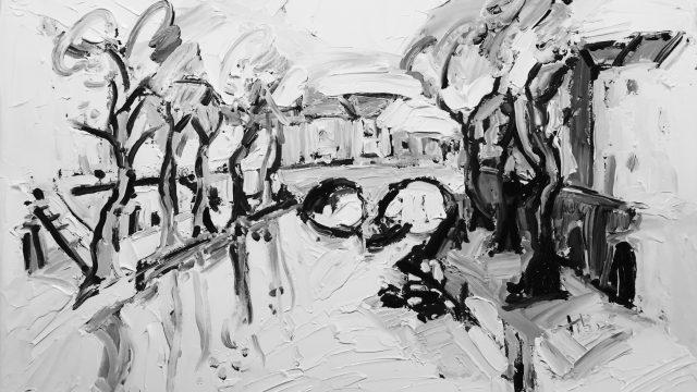 Expressionistisch schilderij Oude gracht Utrecht kunstenaar Tibo van de Zand zoon van Jits Bakker
