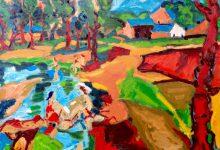 Expressionistisch schilderij Baadsters in de Ardennen kunstenaar Tibo van de Zand zoon van Jits Bakker