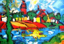 Fauvistisch schilderij Zutphen kunstenaar Tibo van de Zand zoon van Jits Bakker