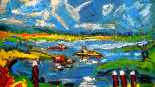 Expressionistisch schilderij Wijn bij Wageningen kunstenaar Tibo van de Zand zoon van Jits Bakker