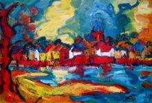 Expressionistisch schilderij Zutphen kunstenaar Tibo van de Zand zoon van Jits Bakker
