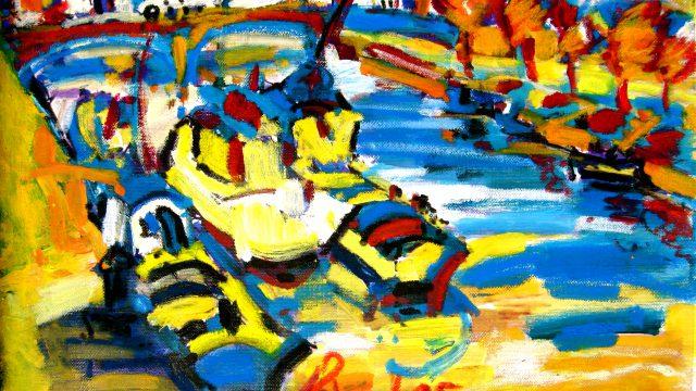 Fauvistisch schilderij Tavira kunstenaar Tibo van de Zand zoon van Jits Bakker