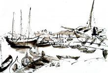 Tekening Oost Indische Inkt op papier Oslo kunstenaar Tibo van de Zand zoon van Jits Bakker