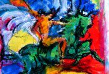 Expressionistisch schilderij Pegasus kunstenaar Tibo van de Zand zoon van Jits Bakker