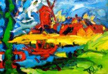 Expressionistisch schilderij Wijk bij Duurstede met molen door kunstenaar Tibo van de Zand