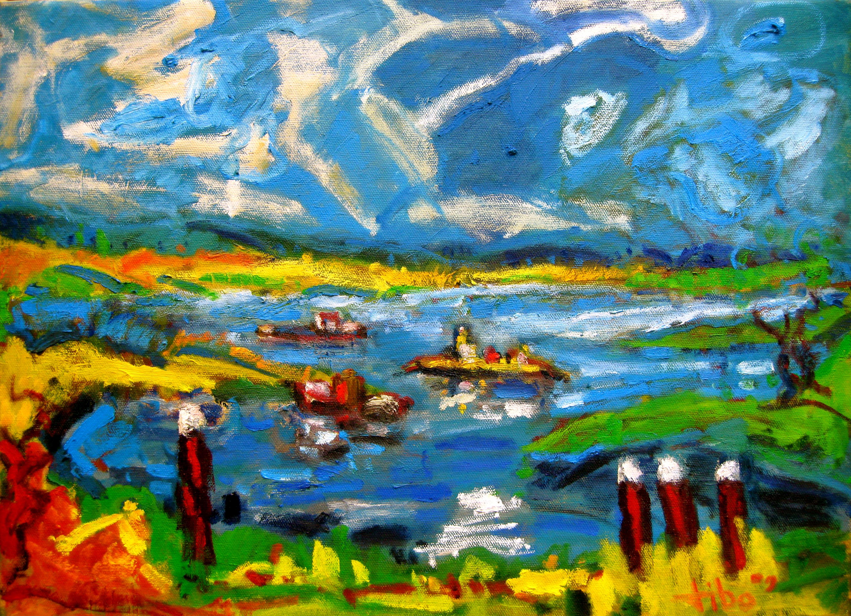 Rijn bij Wageningen Olieverf op linnen 50 x 70 cm