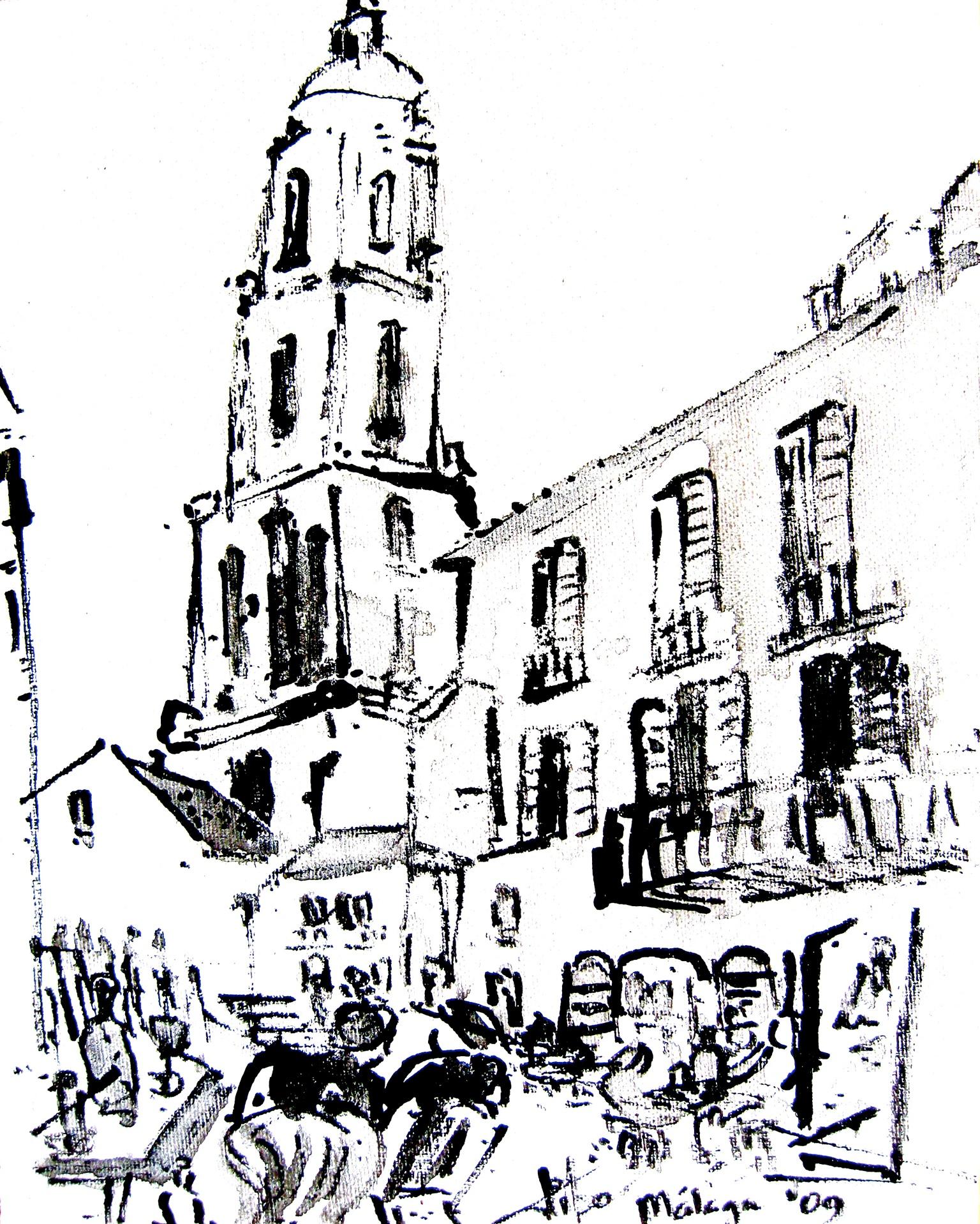 Málaga Oost Indische inkt op papier
