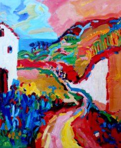 Benalmádena, Spanje, landschap, olieverf, schilderij