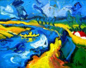 Expressionistisch schilderij Doornenburg kunstenaar Tibo van de Zand zoon van Jits Bakker