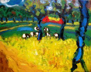 Expressionistisch schilderij Veluwe kunstenaar Tibo van de Zand zoon van Jits Bakker