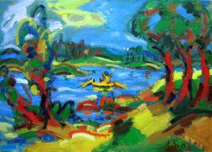 Expressionistisch schilderij IJssel kunstenaar Tibo van de Zand zoon van Jits Bakker