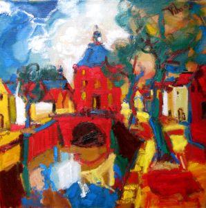 Fauvistisch schilderij Nieuwpoort kunstenaar Tibo van de Zand zoon van Jits Bakker