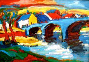 Expressionistisch kleurrijk schilderij Hamoir Ardennen door zoon Jits Bakker Tibo van de Zand