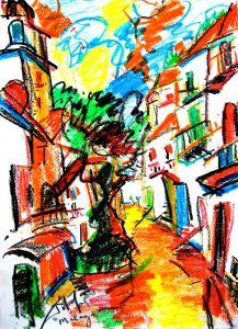 Abstract expressionistisch schilderij Málaga kunstenaar Tibo van de Zand zoon van Jits Bakker