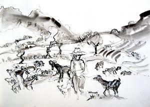 Valtocado Andalucia kunstwerk Oost Indische inkt op papier kunstenaar Tibo van de Zand zoon van Jits Bakker